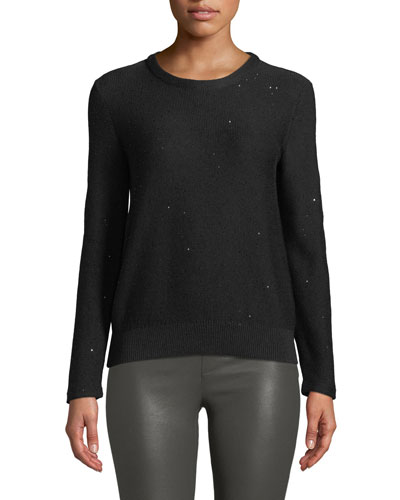 Crewneck Silk-Cotton Sequin Pullover Knit Top