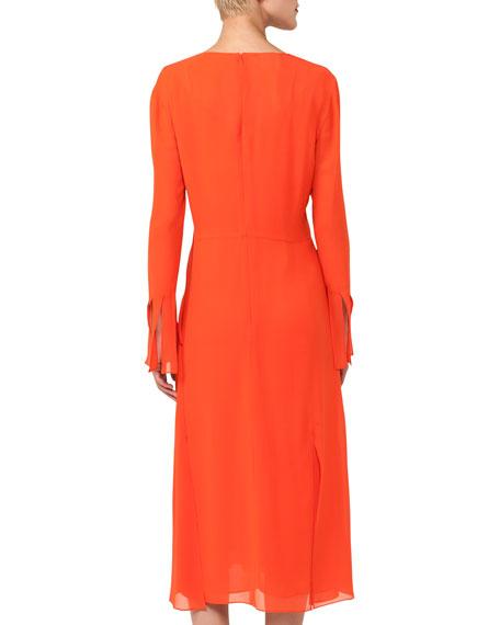 Long-Sleeve V-Neck Silk Carwash Dress