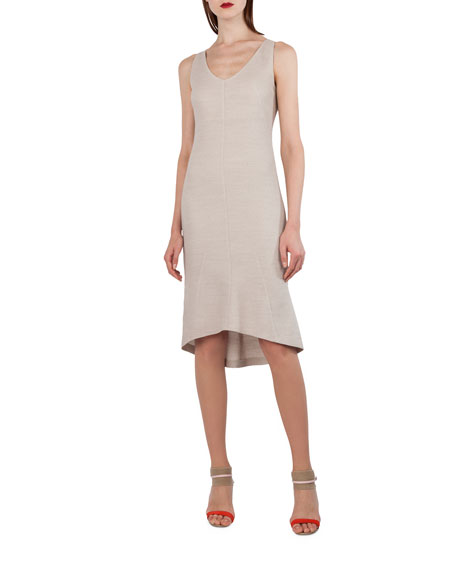 Sleeveless Stretch-Pique Godet Dress