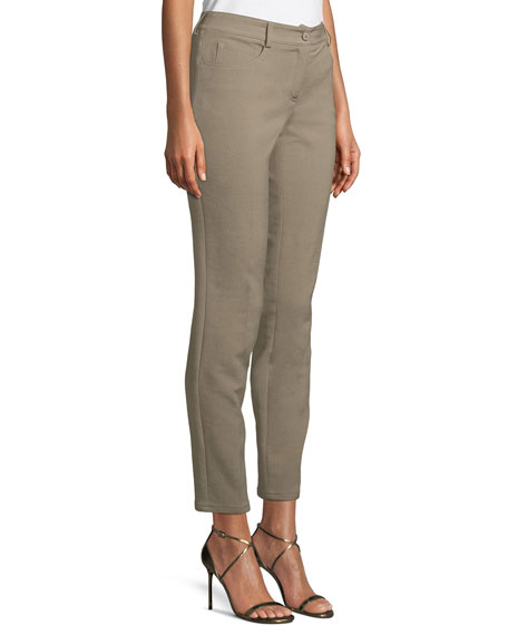 Cuffed Straight-Leg Crepe Pants