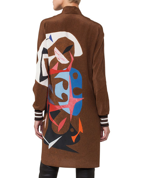 Masonite-Print Silk Tunic Blouse