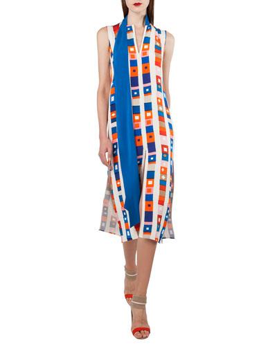 Sleeveless Zip-Front Super-Stripe Silk Crepe Dress w/ Detachable Bow
