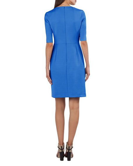 Stretch-Sateen Half-Sleeve Dress