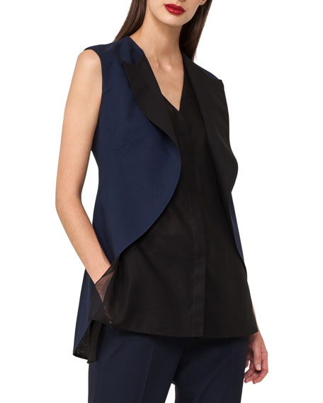 Sleeveless Double-Face Tuxedo Top