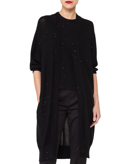 Open-Front Elbow-Sleeve Knit Cardigan with Sequin Embellishments