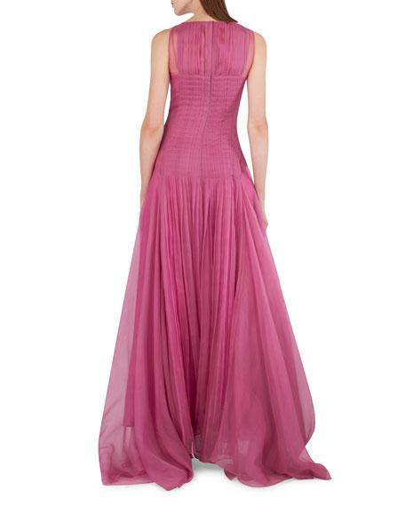 Sleeveless Organza Gown w/Back Pleats