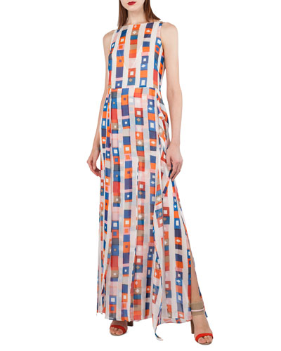 Superstripe Sleeveless Silk Crepe Gown