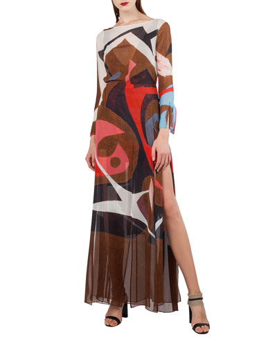 Masonite-Print Silk Crepe Gown