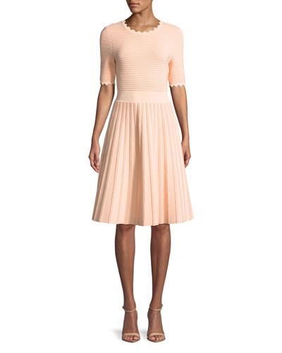 Half-Sleeve Scalloped Knit Dress