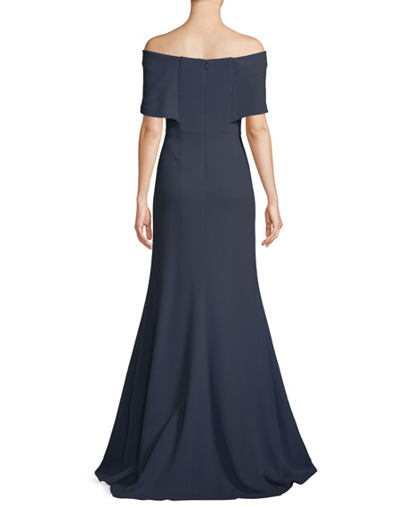Off-the-Shoulder A-Line Evening Gown