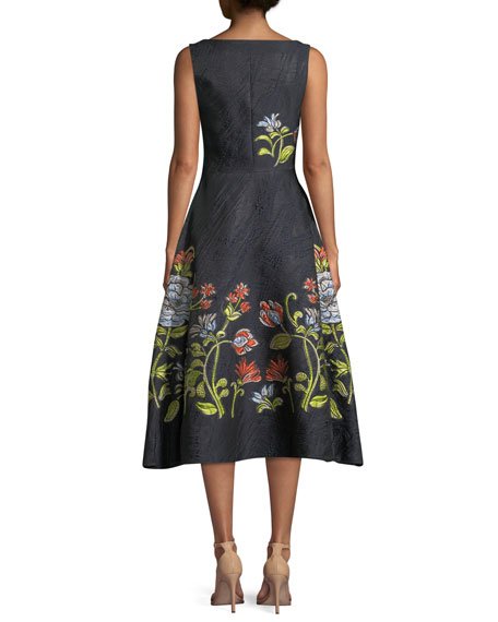Sleeveless Boat-Neck Floral-Embroidered Jacquard Dress