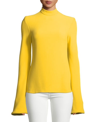 Mock-Neck Flare-Sleeve Top