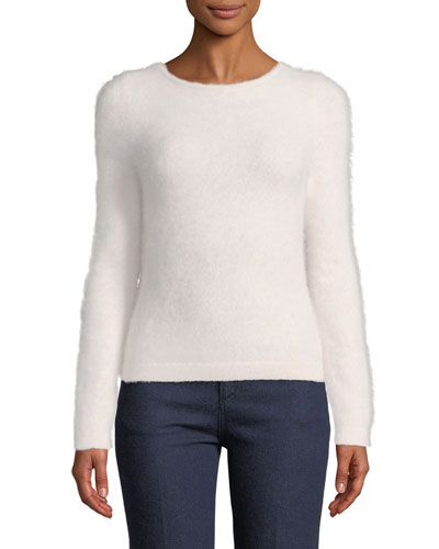 Fuzzy-Knit Drape-Back Sweater