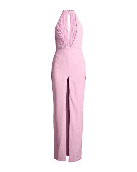 Pleated Keyhole Halter Column Gown