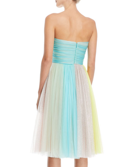 Colorblock Strapless Tulle Cocktail Dress