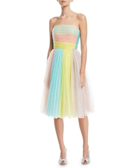 DELPOZO Colorblock Strapless Tulle Cocktail Dress in Multicolour