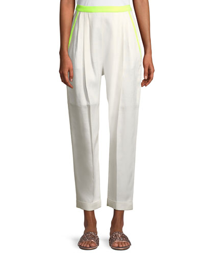 Tapered-Leg Cropped Pants w/ Contrast Trim