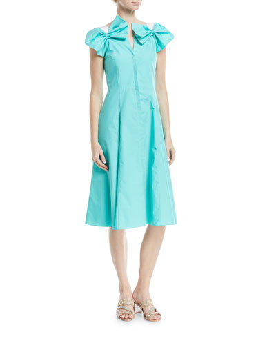 Poplin Bow-Shoulder Dress