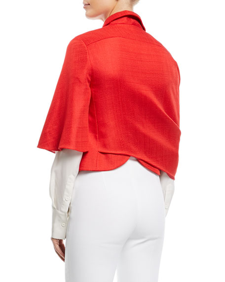 Cropped Wrap-Front Jacket