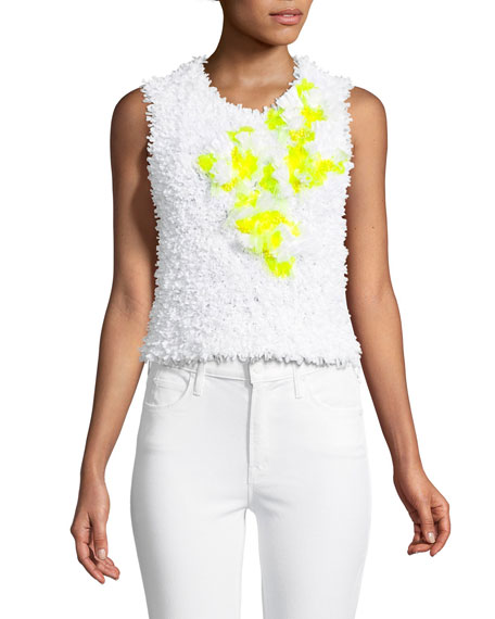 Sleeveless Flocked Top