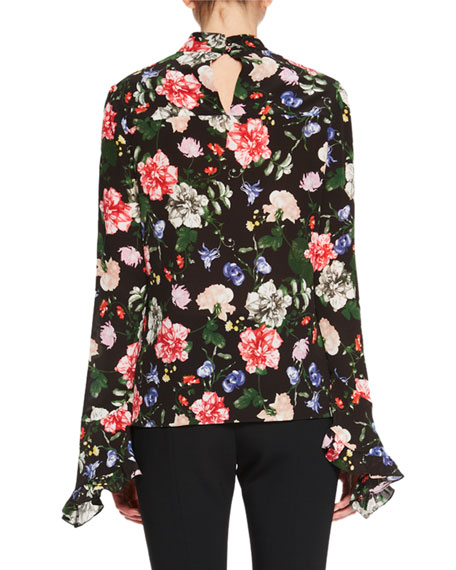 Lindsey Floral-Print Mock-Neck Top