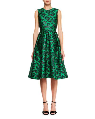 Indra Sleeveless Floral Jacquard Dress