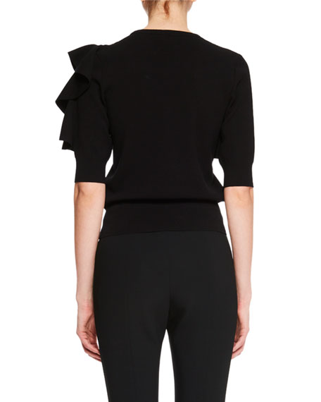 Jill Ruffle-Sleeve Sweater