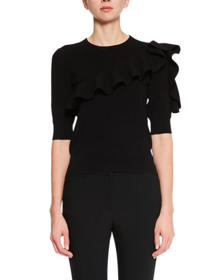 Jill Ruffle-Sleeve Sweater