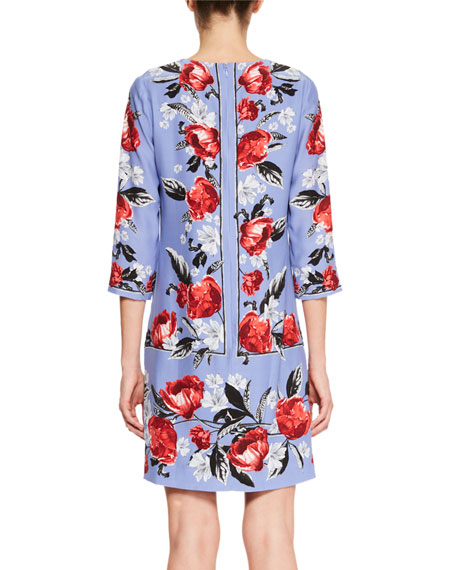 Emma 3/4-Sleeve Floral-Print Silk Shift Dress