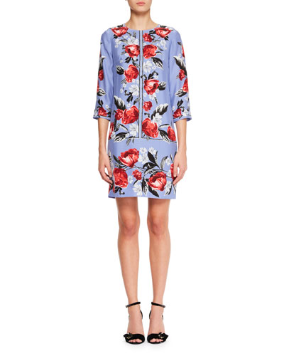 Emma 3/4-Sleeve Floral-Print Silk Shift Dress
