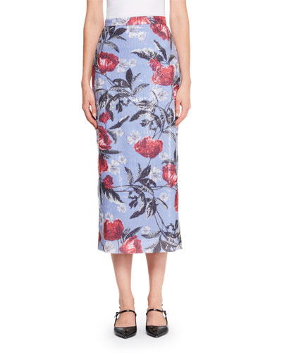 Malena Sequined Floral Midi Skirt