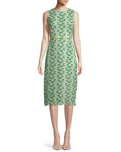 Sleeveless Floral-Embroidered Lace Sheath Dress