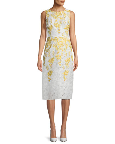 Floral-Embroidered Lace Sheath Dress