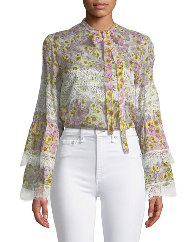 Lace-Panel Tie-Neck Blouse