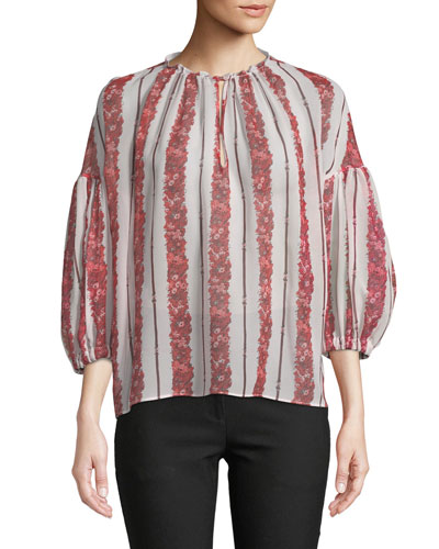 Floral-Striped Silk Blouse