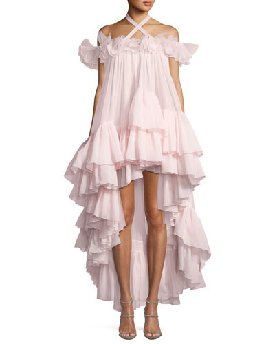 Off-Shoulder Ruffled High-Low Silk Trapeze Gown