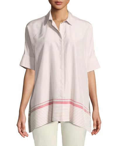 Short-Sleeve Silk Shirt w/ Stripes