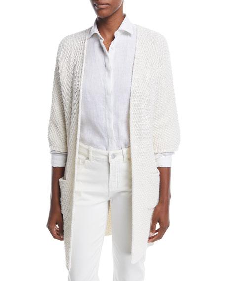 Knit 3/4-Sleeve Cardigan w/Belt