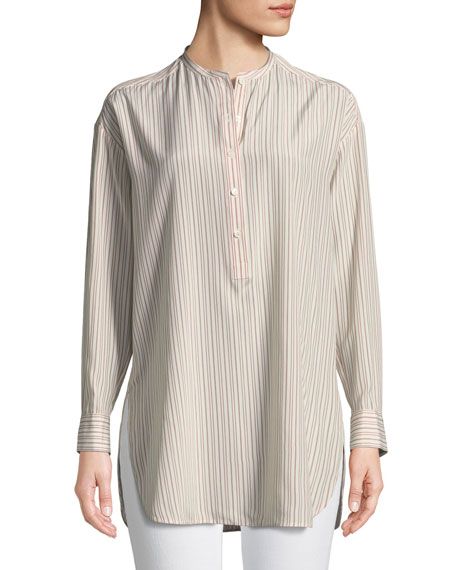 Cathy Striped Silk Crepe Shirt