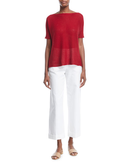 Linen/Silk Boat-Neck Top