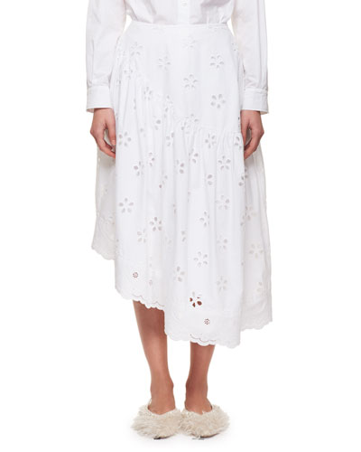 Asymmetric Broderie Anglaise Midi Skirt