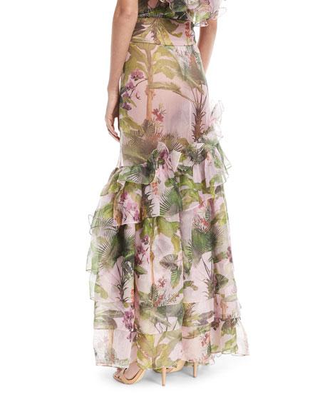 Lala Salama Tropical-Print Maxi Skirt