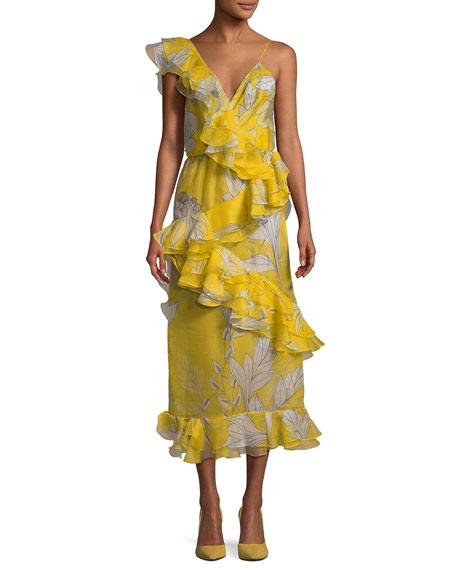 Sunlight Ruffled Organza Midi Dress