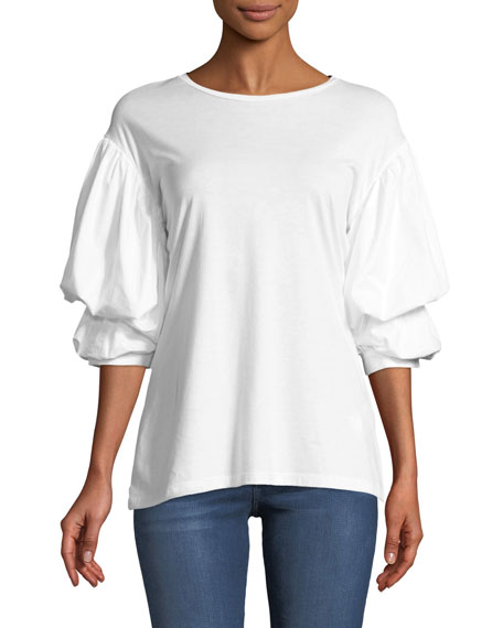 Crewneck Puff-Sleeve Cotton Top