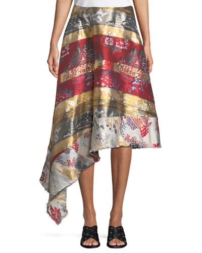 Silk-Lamé Jacquard Side-Drape Skirt