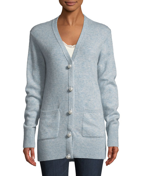 Brushed Cashmere Cardigan with Pearlescent Buttons