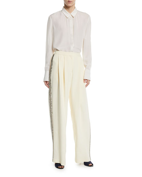 Wide-Leg Crepe Pants w/ Crystalized Embroidery