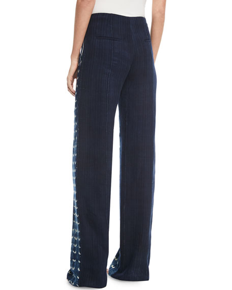 Vintage-Inspired Straight-Leg Chambray Pants