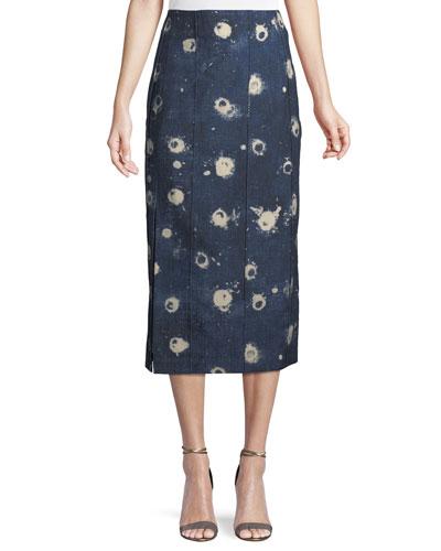 High-Waist Vintage-Inspired Chambray Pencil Skirt w/ Slit
