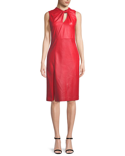 Sleeveless Plongé Leather Sheath Dress with Knot Detail